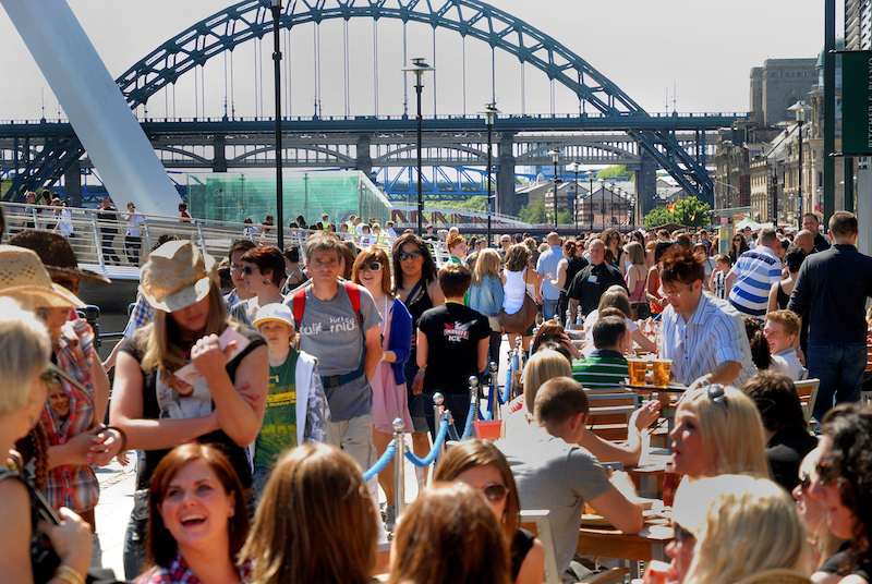 people on Newcastle quayside
